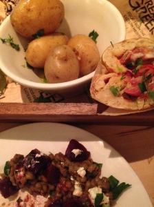 Souvlaki and new potatoes