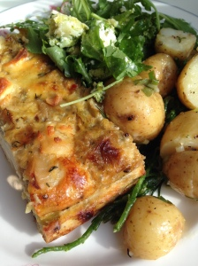 Frittata with leeks and other items
