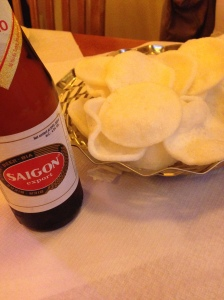 Beer and prawn crackers