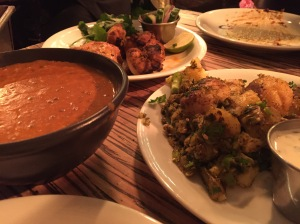 Dishoom chicken tikka, gunpowder potatoes, daal