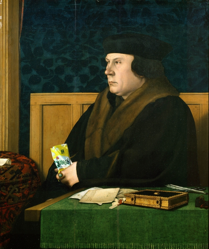 Thomas Cromwell enjoying some Quavers