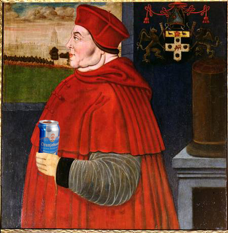 Thomas Wolsey enjoying a cold can of Oranjeboom.