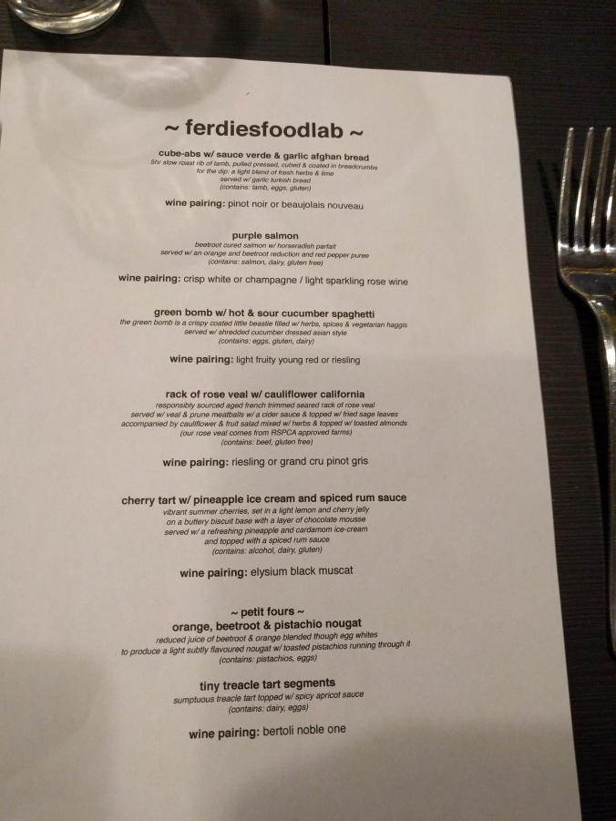Ferdie's Food Lab Menu